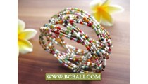 Cuff Beaded Bracelet Multi Color Made in Bali