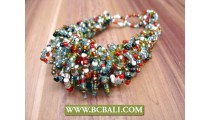 Glass Beaded Wired Bracelets Multi Color