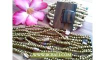 Golden Beaded Bracelets Stretch Buckles