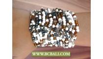 Multi Strands Glass Beads Bracelets Stretched
