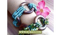 Stretched Women Beading Bracelet Thread Wood