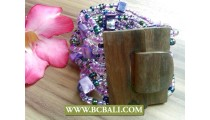 Unfinish Wood Gasper Bracelets Beaded Shells