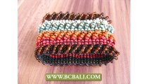 Beaded Wristband Glass Bead Rainbow Stretched