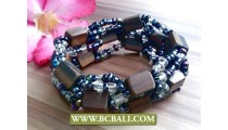 Balinese Ethnic Beads Wood Bracelet Stretch