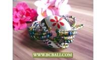 bead bracelets wooden handpainted flower