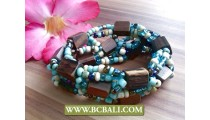 stretching bracelets beads wood jewelry