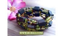 Ethnic Seeds Beads Wood Bracelet Stretch