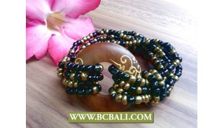 natural wood painted bead stretch bracelet