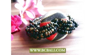 organic wooden hand painted bracelets beads