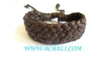 Brown genuine Leather Hemp Bracelets