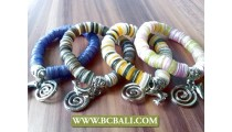 Handmade Coloring Shells Stretch Bracelets