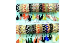 crystal beaded bracelets tassels motif medium size