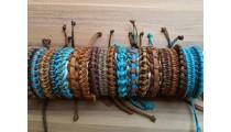 hemp leather braids bracelets mix color