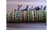 rasta color leather bracelets friendship