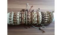 straw leather bracelets friendship braids