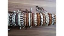 leather hemp braids bracelets straw