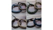 leather bracelet hemp for men's designs new