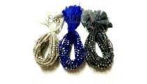 friendship bracelet braided crochet silver beaded tassel