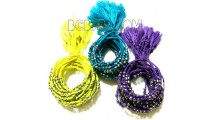 tassel bracelets braids string mono color silver bead