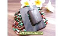 Balinese Wood Buckle Bracelets Stretch Multi