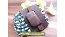 Black Wooden Clasps Bracelets Beads