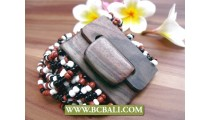 Ethnic Wooden Buckles Beads Bracelets