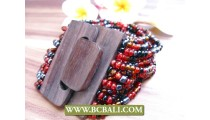 Multi Seeds Beads Stretch Bracelets Wood