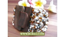 Black Wooden Buckle Bracelets Beads