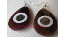 Black Earrings Shells Abalone Hooked