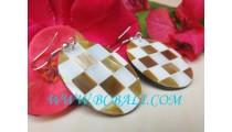 Earrings Shells Golden MOP Handmade Jewelry