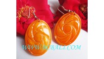 Bone Carving Drop Earrings Hand Work