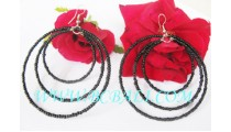 Sequins Beads Earring Black
