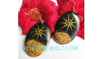 Black Wood Hand Painting Earrings