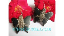 Earring Hand Painting Carving Wood Butterfly