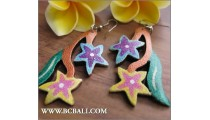 Assorted Coloring Wood Earrings Flowers Fashion