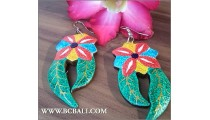 Bali Earring Flowers Wood Painting Carving