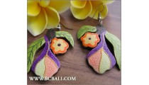 Bali Painting Woods Earring Flower Carved
