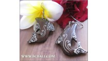 Bali Wood Earrings Dolphin Painting Carving