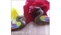Bali Wood Earrings Duck Carving Coloring Fashion