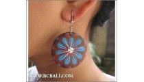 Bali Wooden Earring Floral Painting