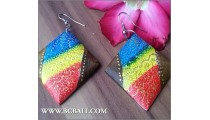 Earring Wooden Painted Handmade