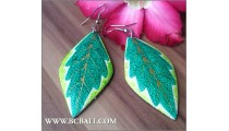 Handmade Wooden Leaf Earrings Painted Bali