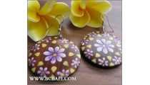 Handmade Wooden Earring Floral Painting