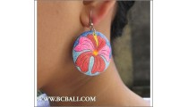 Woman Earring Woods Floral Hand Painting