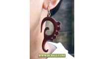 Handmade Earring Hooked Wooden Carving
