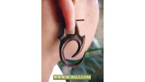 Hooked Tribal Wooden Earring Carving