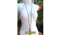 Beads Tassel Necklace Pendant Long Seeds Gold
