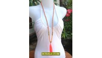 Beads Tassel Necklace Pendant Long Strand