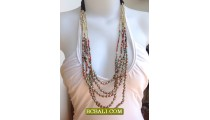 Five Strand Multi Color Beads Necklace