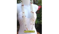 Long Seeds Bead Necklace Shell Charm Ladies